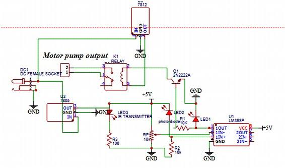Circuit Diagram of Automatic Sanitizer Dispenser Machine