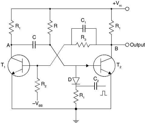 Circuit of monostable multivibrator